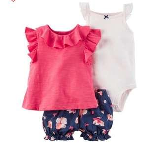 BN Carter's 3-pc Bodysuit & Diaper Cover Set