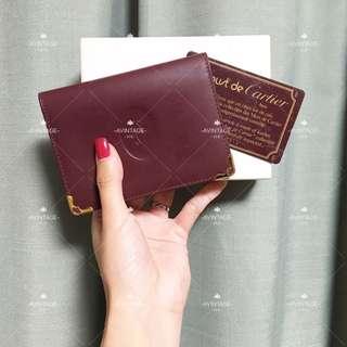 Cartier Vintage 酒紅色短銀包