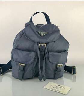 Authentic Prada medium Nylon Backpack NOT Hermes Fendi Polo Ysl  Porter  Dior