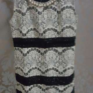 Dress brukat leher mutiara