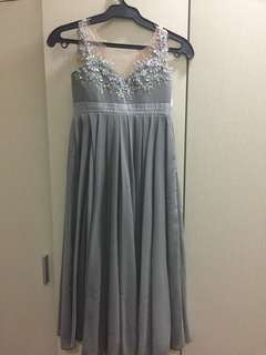 Gray gown with beads and sequins