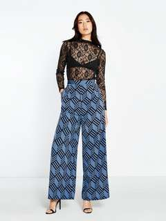 Pomelo Fashion Sora Geometric Wide Pants Full Length Bright Blue & Black