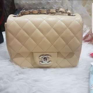 Chanel mini square caviar beige shw 15 series but in v gd condition