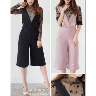 Star jumpsuit black and dusty pink