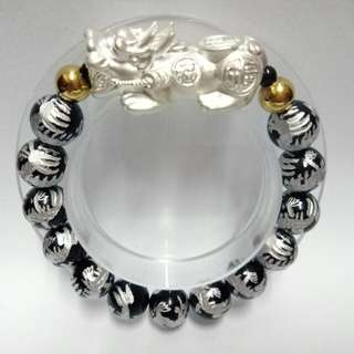 999 Pure Silver Pixiu with dragons rainbow Obsidian Gemstones (12mm)  Bracelet