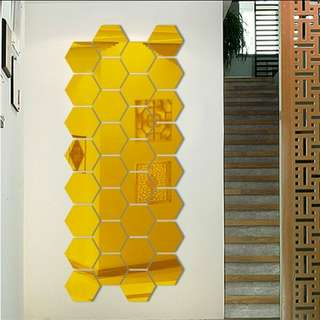 12 pcs Small Hexagon Mirror Sticker