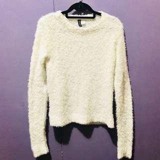 White fur sweater