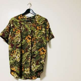 """Hibiscus"" Collarless Vintage Shirt"