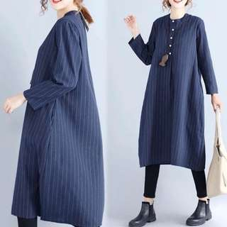 (M~2XL) Striped shirt female loose long section long-sleeved shirt dress dress