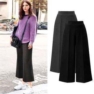 (L~5XL) 2018 spring and autumn high waist wide leg pants nine points casual pants