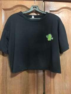 Black cactus Crop Top