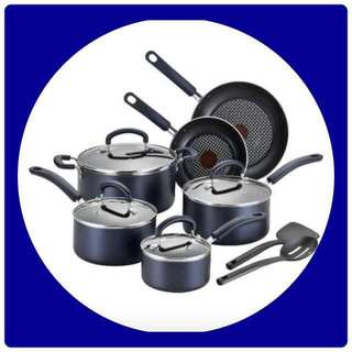 T-fal Color Luxe Hard Titanium Nonstick Thermo-Spot Dishwasher Safe PFOA Free Cookware Set, 12-Piece, Blue