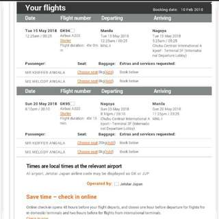 Roundtrip ticket for 2 pax in NAGOYA JAPAN