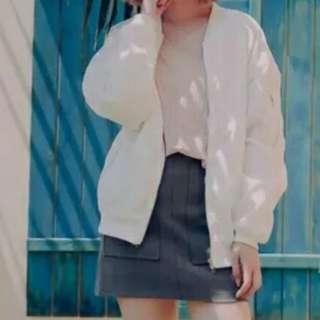白色飛行外套/罩衫/防曬外套