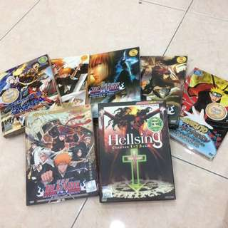 7 sets of original Anime DvD- Bleach,Naruto, Hellsing,sengoku basara