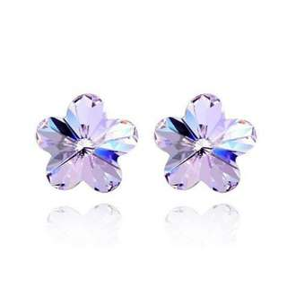 Crystal Flower Silver-Plated Stud Earrings
