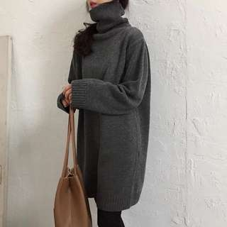 Korean high-collar lazy casual sweater dress in the spring long section of the dress