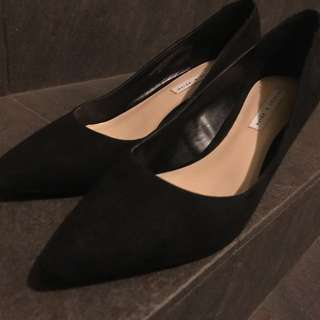 Charles & Keith Pointed Suede Black Heels