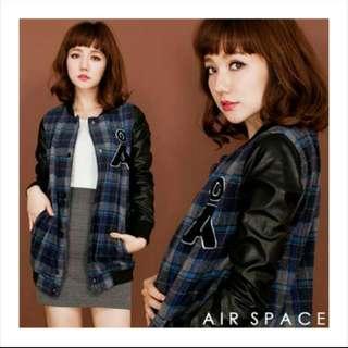 🚚 Air space 格紋棒球外套