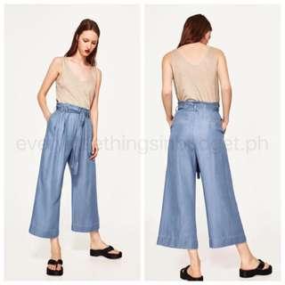 Waisted Belt Denim Loose Pants