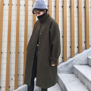 Fashion woolen coat Winter Hong Kong women loose knee-length coat