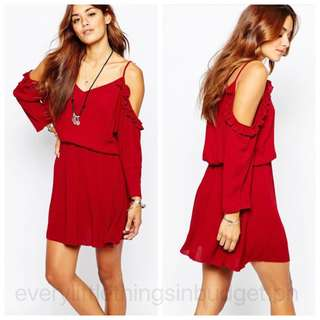 Cold Shoulder Red Dress