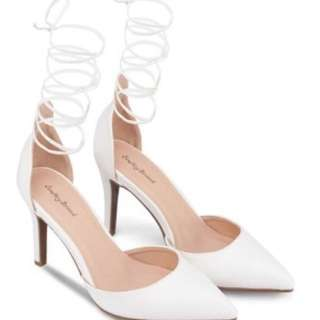 Something Borrowed Lace Up Pointed D'orsay Heels Shoes - White