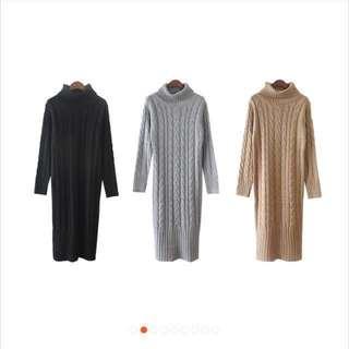 🚚 秋冬高領麻花加厚毛衣裙 懶人裙 連身裙(灰色