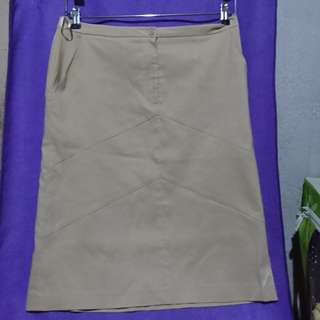 Plus size beige office skirt (XL)