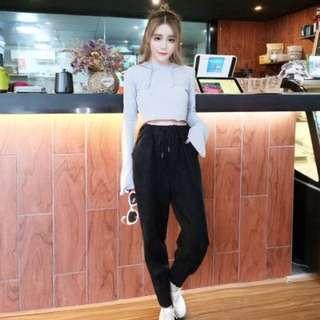 J004.韓版短款連帽長袖上衣+高腰哈倫小腳褲兩件套