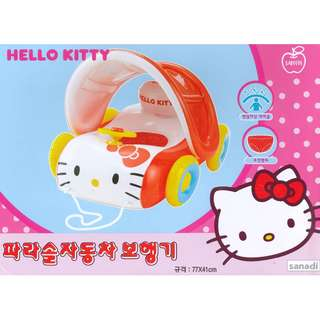 (Free Delivery) Sanrio Hello Kitty Car Shape Inflatable Baby Inflatable Swimming Float Seat Ring with Canopy Shade and Steering Wheel