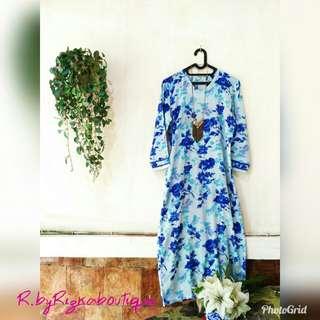 🚫FlashSaleWeekend🚫 Gamis Blue Flowerry