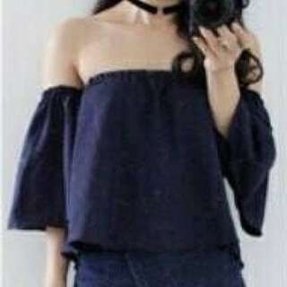 Mitha off shoulder tangan pisah navy