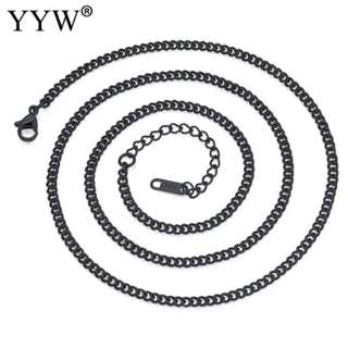 3mm Width Men & Women black color 22.4 Inch Strand Link Chain Necklaces Stainless Steel Jewelry