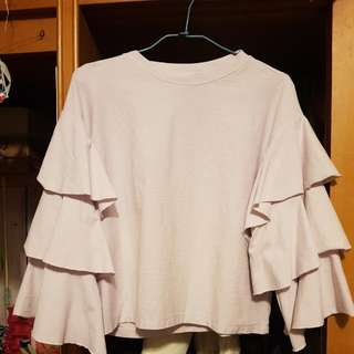 H&M淺紫色袖子造型上衣
