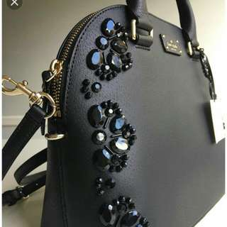 BNWT Kate Spade Black Leather Handbag With Embellished Stones - Authentic