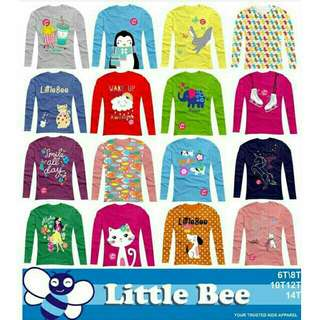 Kaos lengan panjang little bee ukuran junior 6-14 tahun