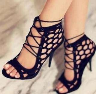 Cross strap high heels