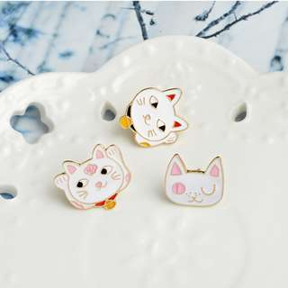 Lucky Cat Enamel Brooch Pins