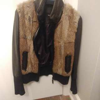 Rudsak leather and fur jacket
