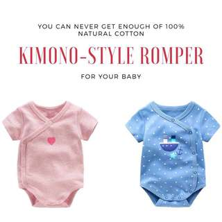 Baby Short Sleeve Romper / Onesies / Top / Kimono / Clothes / Wears for Baby Infant Boys and Girls from 0-24 months 100% Natural Cotton
