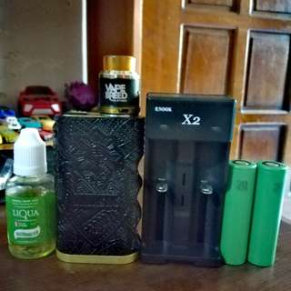 vape kalasag mod x vapebreed24 atomizer , vtc4 batts, x2 charger, juice