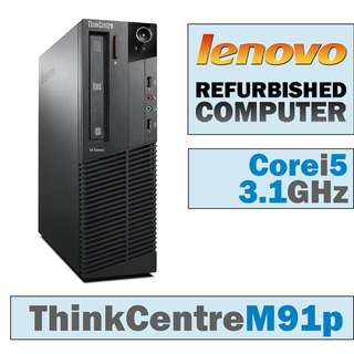 CORE i5 - 2400 @ 3.10GHz ~ 3.40GHz / LENOVO M91P / HARD DISKS 250GB / RAM 4GB DDR3 ( MAX 16GB ) / i5 2ND GENERATION / PC / CPU / DESKTOP / COMPUTER