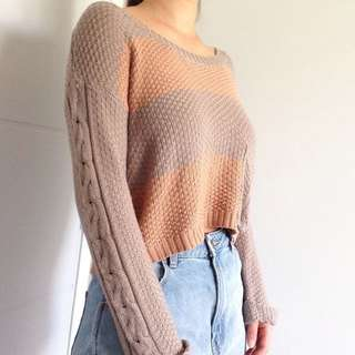 Knitted Cropped Stripped Vintage Jumper