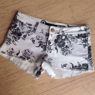 Black and White Floral Vintage Jean Shorts