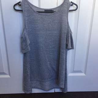 Mirrou open shoulder grey top