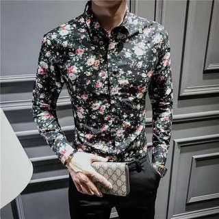 🆕 England Style Men's Floral Long Sleeved Shirt (PO )