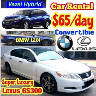 BMW 120i Convertible Lexus GS300 Super Luxury Vezel Hybrid BMW 525i Estima Car Rental Leasing