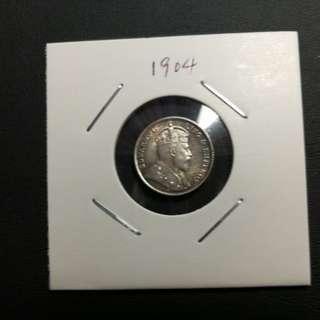 愛德華七世 香港五仙 銀幣 1904