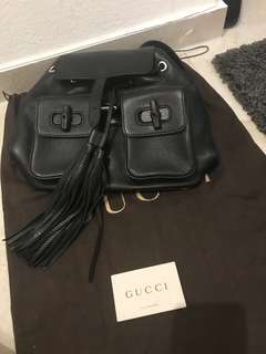 98% new Black Gucci Bamboo Backpack Gucci黑色竹製真皮背包